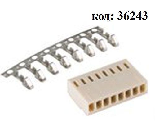 Разъем питания  8 конт. (м) шаг 2,54 (HU-8)