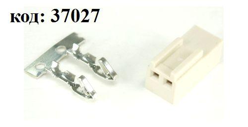 Разъем питания  2 конт. (м) шаг 2,54 (HU-2)
