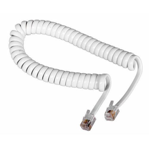 Шнур для телеф.трубки, 4м, витой, TP-4P4C с двух концов (белый) (FD-6120)